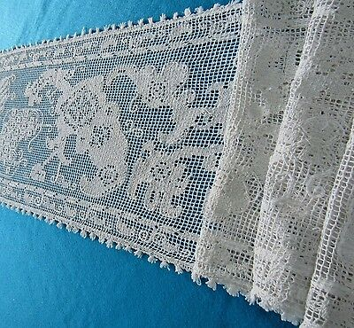 "Antique Pr. Hand Knotted Lace White Runners Animals Picasso Like 108 "" Ea Europe"