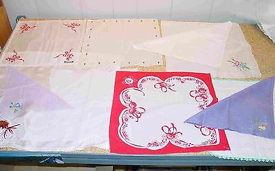 Lot 10 Vintage Handkerchief Floral Christmas White Lavender Red Crocheted border