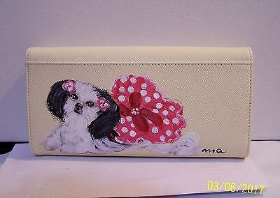 Hand painted Shih Tzu genuine leather Checkbook Wallet