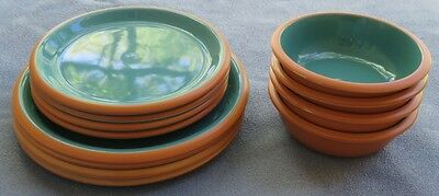 12 Pc Set for 4, Corning Sonora Green Terra Cotta Dinnerware Japan Plates, Bowls