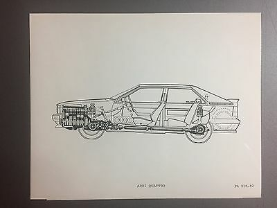 1983 Audi Quattro Exposed View B&W Press Drawing Photo, Foto RARE!! Awesome L@@K