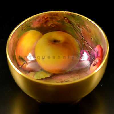 ROYAL WORCESTER Fruit Hand Painted Porcelain Sugar Bowl Gilded HORACE PRICE 1922