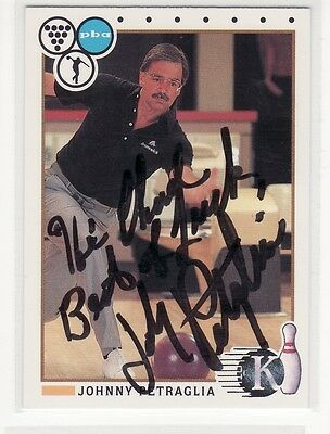 Johnny Petraglia Personalized Autographed Bowling Card