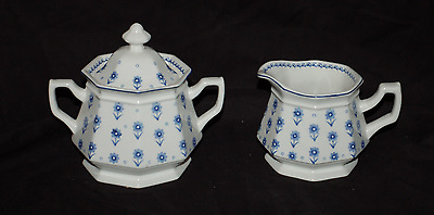 One Adams China Sugar Bowl and Creamer Set  Daisy Blue and White  Great Shape
