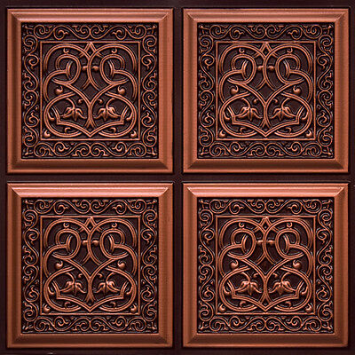 # 231 - Antique Copper 2'x2' PVC Faux Tin Decorative Ceiling Tile Panels Glue-Up