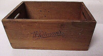 """Vintage 1930's - 40's Whitman's Wood Candy Box Tray 4-1/2"""" X 6-1/2"""" Open Handles"""