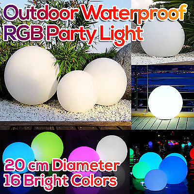 Outdoor LED Glow Ball Mood Lighting Waterproof Lamp Wedding Party Decor 20cm