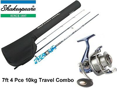 7ft Shakespeare Engage 4 Piece Travel Rod and Reel Combo - 10kg Spin Combo