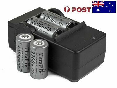 4 UltraFire CR123A 16340 Rechargeable Battery With Charger 2300mAh 3.7v F104