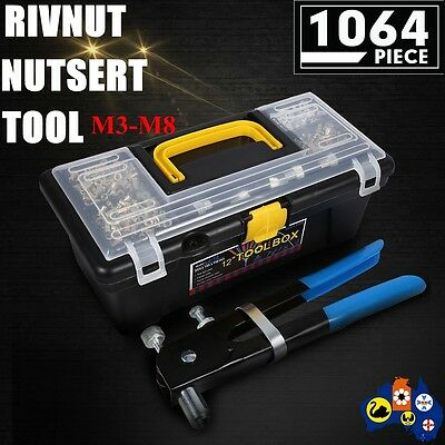1064 Piece Blind Rivet Nut Rivnut Nutsert Insert Tool Rivnuts Kit M3 to M8 ZZ
