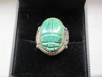 Antique Sterling Silver Egyptian Scarab Lotus Hand Made Ring Sz 5.25 Rare!!!