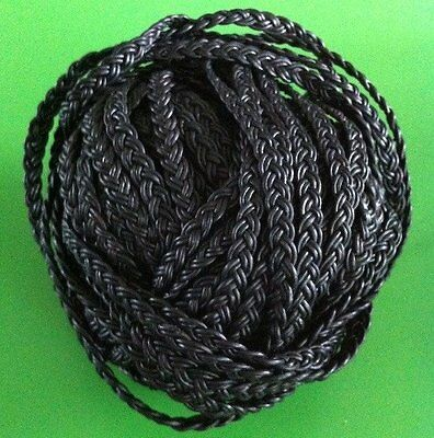 1m x 6mm Black Flat Plaited Leather Strap 6x2mm - belt/cord/jewellery/bag/hat