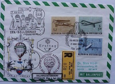 Austria 1968 Registered Balloon Mail Cover With Crashed At Vienna Cachet