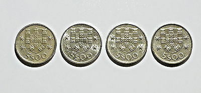 Portugal 5 Escudos Coins from 1976, 1977, 1979, 1980