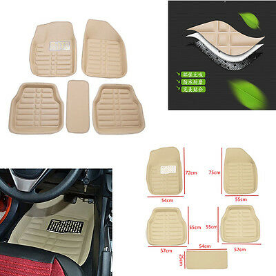 Beige Universal Car Floor Mats FloorLiner Front&Rear Carpet All Weather 5Pcs Mat