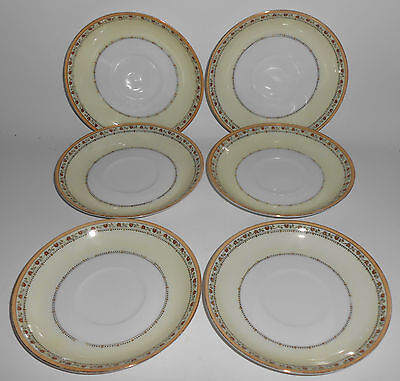 Meito China Porcelain Japan Red/Yellow Flower w/Gold Band Set/6 Saucers