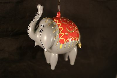 Vintage Laved Italian Glass Christmas Ornament Elephant  Made in Bellagio Italy