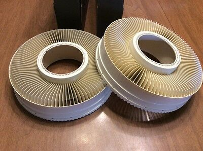 """2 Vintage Sawyer Rototray 100 Slide Carousel Trays in Original Boxes 2""""x2"""" 35mm"""