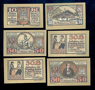 Scarce Lot of 11 Different 1921 Notgeld St. Johann in Tirol Austria AU-BU AB106