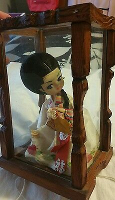 Vintage Traditional Korean Dress Doll in Glass Display Case Box Satin Women's