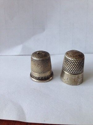 Two Antique Sterling Thimbles