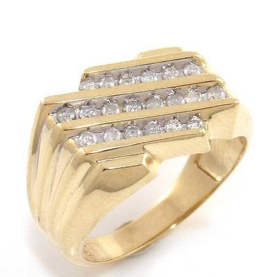 Solid 10K Yellow Gold Natural Diamond Men's Pinky Ring Size 10 ZQ2