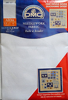 "DMC NEEDLEWORK FABRIC AIDA BLANC 11ct 20"" x 30"" 50cm x 75cm - FREE UK P&P"