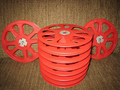 9- 400ft 16mm Plastic Red Goldberg film REELS NEW!