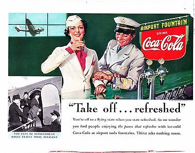 1938 Vintage Magazine Ad ~ Coca Cola Airport Fountain