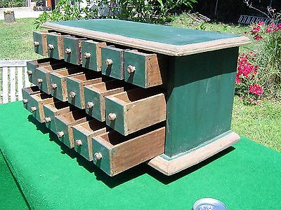 Vintage Painted Pine 18 Drawer Apothecary / Spice / Seed Cabinet