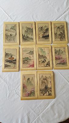 Tourist Cards Japan Vintage hand painted watercolor on silk