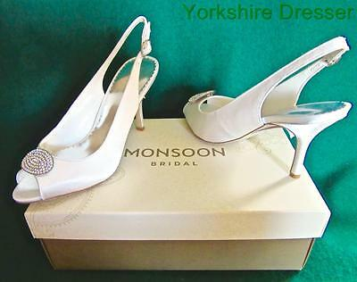 New MONSOON Ivory Satin Peep Toe CECILE Diamante Brooch Bridal Wedding Shoes 4 7