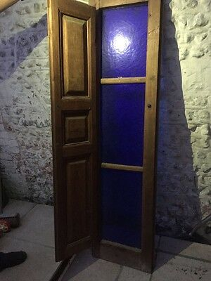 Antique Stained Glass Timber Blue Window With Shutter