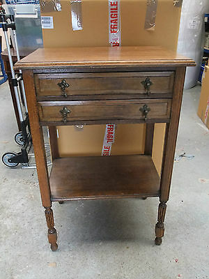Vintage 2-Drawer Oak Side Table - Early 20th C [3601]