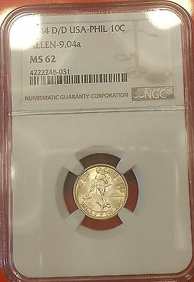 US Philippines 1944-D/D Ten Centavos Allen-9.04a NGC MS 62 ~CPPM~ Buy Now