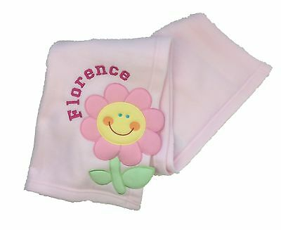 Personalised Pink 'Daisy' Embroidered Baby Blanket. Great Baby Gift.