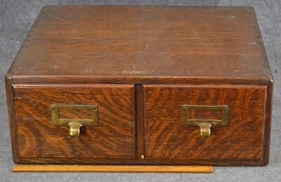 file box 2 drawers tiger oak solid wood library index card vintage original