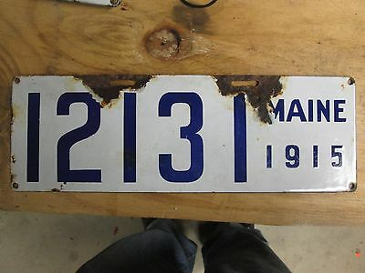 Original Early Maine Porcelain License Plate 1915