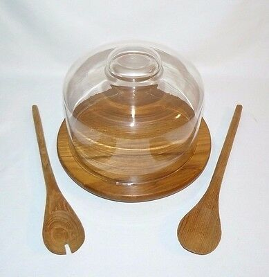 "Vintage Lipper Intl Dolphin Bowl ""n"" and Board Salad Serving Glass Cover Dome"