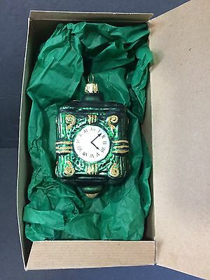 Marshall Fields Chicago Clock Blown Glass Christmas Ornament