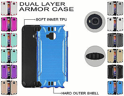 For Huawei Ascend XT Brushed Dual Layer Slim Armor Hybrid Cover Case