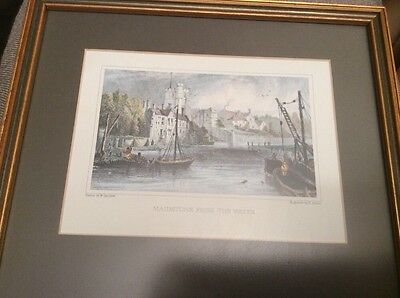 Antique Coloured Engraving 'Maidstone From The Water' W.Barlett, H.Adlard