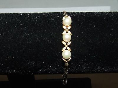 14K Solid Yellow Gold Pearl Braclet(See Discription) (277)