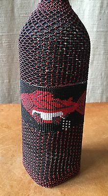 Antique Native Pacific NW Indian Beaded Bottle with Salmon Spawning, rare