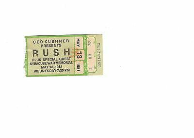 Rush Used Ticket Stub From 1981 Syracuse, Ny Concert        Moving Pictures Tour