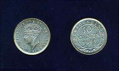 Canada Newfoundland George Vi  1944-C  10 Cents Silver Coin, Almost Uncirculated