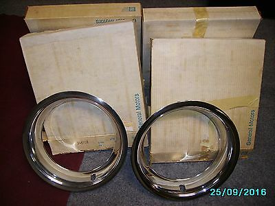 "Chevrolet GM NOS 15"" x 8"" Trim Rings Set of 4 still in orig. boxes, 2 unopened"