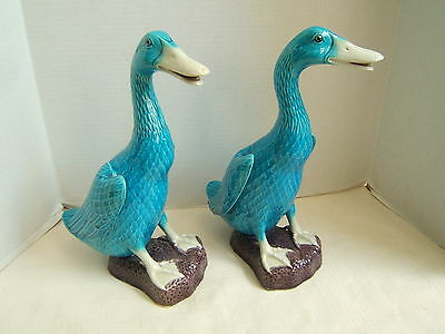 "Chinese Turquoise Blue Porcelain Ducks 11 7/8"" High"