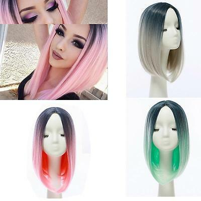 Heat Resistant Synthetic Front Ombre Wigs Long Straight Bob Black&Pink Wigs