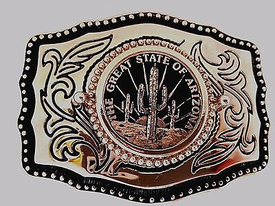 """Large """"The Great State of Arizona"""" Silver Belt Buckle Cactus with Black Leather"""